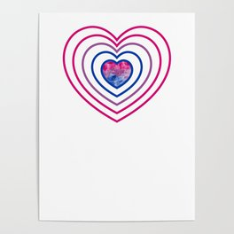 Gay Pride LGBT Bisexual Bi Heart Rainbow design Poster