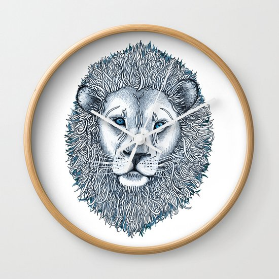 Blue Eyed Lion Wall Clock