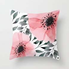 Big Watercolor Flowers Throw Pillow