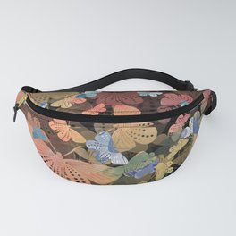 Coral, Green and Blue Butterlfy Pattern inspired by Blockprint textiles Fanny Pack