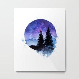 Night Sky Galaxy over the Pines Metal Print