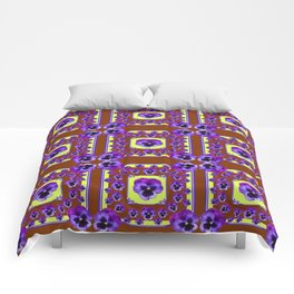 SPRING PANSY FLOWERS COFFEE BROWN GARDEN Comforters