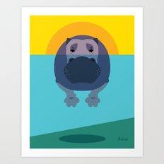 Hippo Art Print