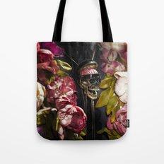 Skull and Peonies Tote Bag