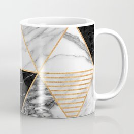 Marble Triangles 2 - Black and White Coffee Mug
