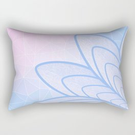Flower on Pastel Pink and Blue Geometric Pattern Rectangular Pillow