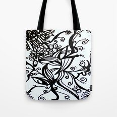 Forget Me Not Black & White  Tote Bag