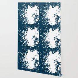 Royal Blue and White Giant Splatter Wallpaper