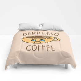 Depresso Coffee, Funny, Quote, Coffee Comforters