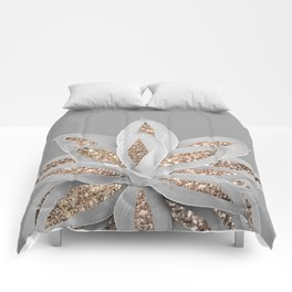 Gray Agave with Gold Glitter #1 #shiny #tropical #decor #art #society6 Comforters