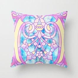 Art Nouveau Blue Pink and Yellow Batik Design Throw Pillow