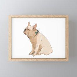 French bulldog in Blue Framed Mini Art Print