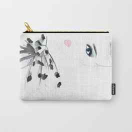 Watercolour Fashion Illustration Titled Bow Top Carry-All Pouch
