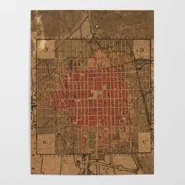 Vintage Map of Mexico City Mexico (1800) Poster
