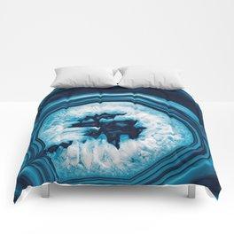 Blue White Agate #2 #gem #decor #art #society6 Comforters