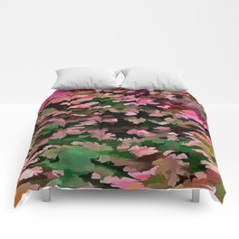 Foliage Abstract In Pink, Peach and Green Comforters