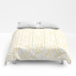 Doodle Line Art   Yellow Lines on White Background Comforters