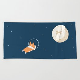 Fly to the moon _ navy blue version Beach Towel