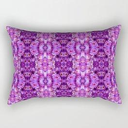 Violet Purple White Flower Pattern Rectangular Pillow