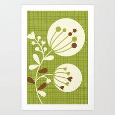 Retro Lime Bouquet Art Print