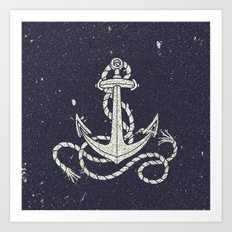 Navy Blue Nautical White Anchor for Sailor Texture Art Print