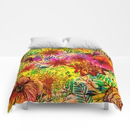 Tropical Hot Heat Flower Hibiscus Garden Comforters