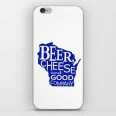 Blue and White Beer, Cheese and Good Company Wisconsin Graphic iPhone & iPod Skin