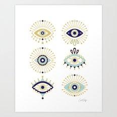 Evil Eye Collection on White Art Print