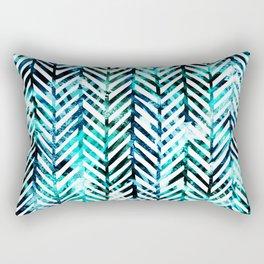 Aqua Herringbone Rectangular Pillow
