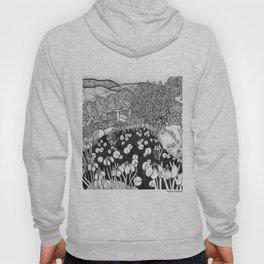 Zentangle Vermont Landscape Black and White Illustration Hoody
