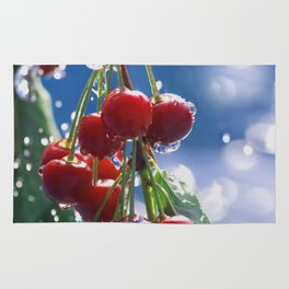 Summer rain on cherries Rug