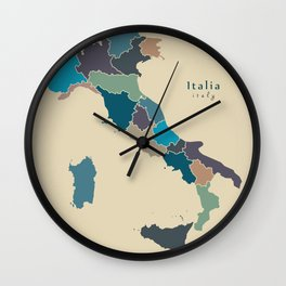 Modern Map - Italy with regions colored Wall Clock