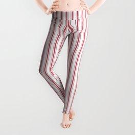 Mattress Ticking Narrow Striped USA Flag Red and White Leggings