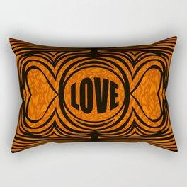 heart center1 orange and black Rectangular Pillow