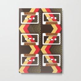 Vintage Tapes Pattern Brown Metal Print