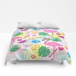 Aloha Pink Flamingo Art Comforters