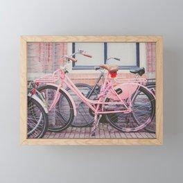 Pink Bike in Amsterdam Framed Mini Art Print