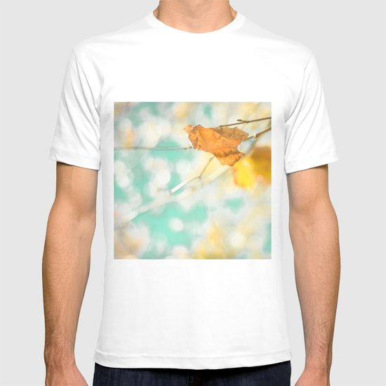 Gold Autumn Fall Leafs on Dreamy Blue Turquoise Vintage Retro Sky  T-shirt