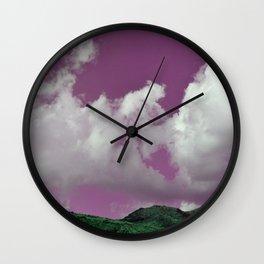 emerald hills purple skies Wall Clock