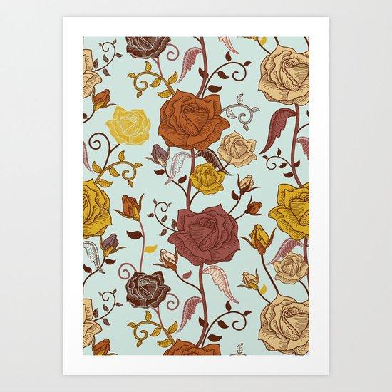 Rosies Roses Art Print