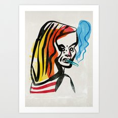 girl with a cigarette Art Print