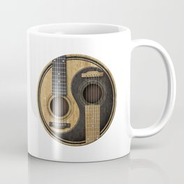 Aged Vintage Acoustic Guitars Yin Yang Coffee Mug