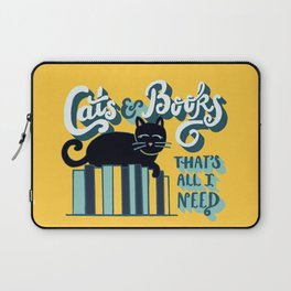 Cats and Books: That's All I Need Quote Art - Blue, Turquoise, Yellow, White, Black Laptop Sleeve