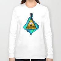 bill cipher Long Sleeve T-shirts featuring Gravity Falls- Bill Cipher  by merrigel