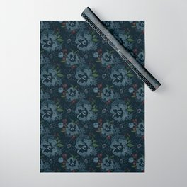 Moody Blues Floral Pattern Wrapping Paper