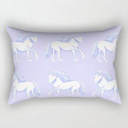 Lavender and White Unicorns Pattern Rectangular Pillow