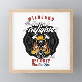 Retired Wildland Firefighter Off Duty Thin Red Line Framed Mini Art Print