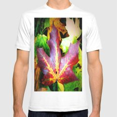 Autumn Leaves White MEDIUM Mens Fitted Tee