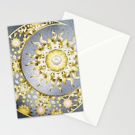 Golden Moon and Sun Stationery Cards