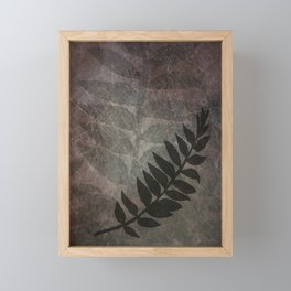 Pantone Red Pear Abstract Grunge with Fern Leaf - Foliage Silhouettes Framed Mini Art Print